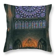 Worship In Notre Dame Throw Pillow