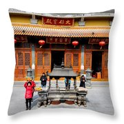 Worshipers In Urn Courtyard Of Chinese Temple Shanghai China Throw Pillow