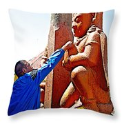 Worshipper At Festival Of Ram Nawami In Kathmandu-nepal    Throw Pillow