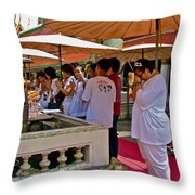 Worshippers In Front Of The Royal Temple  At Grand Palace Of Tha Throw Pillow