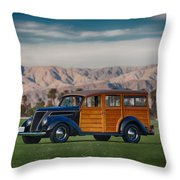 Wow Woodie Throw Pillow