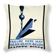 Wpa Vintage Safety First Throw Pillow