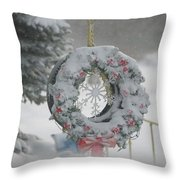 Wreath In A Snow Storm Throw Pillow
