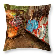 Wrecked Whistler Trains Throw Pillow