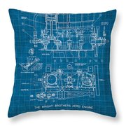Wright Brothers Aero Engine Vintage Patent Blueprint Throw Pillow