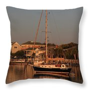 Wrightsville Beach Boat In Harbor Throw Pillow