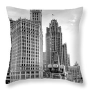 Wrigley And Tribune Throw Pillow by Scott Norris