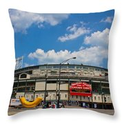 Wrigley Field And Clouds Throw Pillow