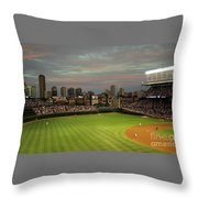 Wrigley Field At Dusk Throw Pillow by John Gaffen