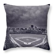Wrigley Field Night Game Chicago Bw Throw Pillow