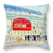 Wrigley Field Sketch Throw Pillow