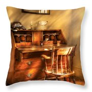 Writer - A Chair And A Desk Throw Pillow by Mike Savad