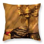Writer - Remington Typewriter Throw Pillow by Mike Savad