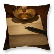 Writing A Letter By Candle Light Throw Pillow