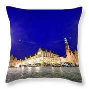 Wroclaw Poland Historical Market Square And The Town Hall Throw Pillow