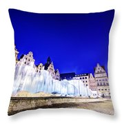 Wroclaw Poland The Market Square And The Famous Fountain At Night Throw Pillow