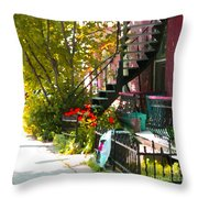 Wrought Iron Fence Balcony And Staircases Verdun Stairs Summer Scenes Carole Spandau  Throw Pillow