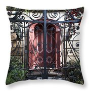 Wrought Iron Gate And Red Door Charleston South Carolina Throw Pillow