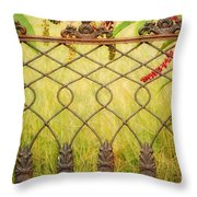 Wrought Iron With Red And Green Throw Pillow
