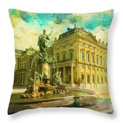 Wurzburg Residence With The Court Gardens And Residence Square Throw Pillow by Catf