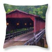 Wv Covered Bridge Throw Pillow