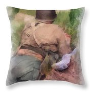 Ww II Us Army Soldier Photo Art Throw Pillow
