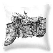 Ww2 Military Motorcycle Throw Pillow