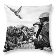 Wwi Releasing British Carrier Pigeon Throw Pillow