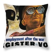 Wwii: Employment Poster Throw Pillow