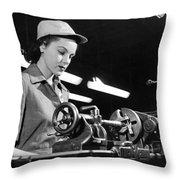 Wwii Woman War Worker Throw Pillow