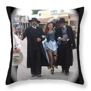 Wyatt Earp  Doc Holliday Escort  Woman  With O.k. Corral In  Background 2004 Throw Pillow