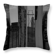 Wyoming Coal Mine Composition Black And White Throw Pillow