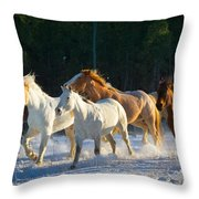 Wyoming Horses Throw Pillow