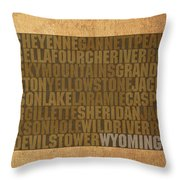 Wyoming Word Art State Map On Canvas Throw Pillow by Design Turnpike