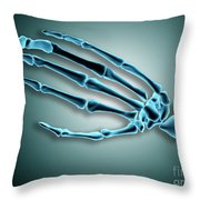 X-ray View Of Bones In Human Hand Throw Pillow