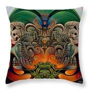 Xiuhcoatl The Fire Serpent Throw Pillow by Ricardo Chavez-Mendez