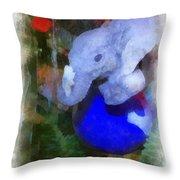 Xmas Elephant Ornament Photo Art 02 Throw Pillow