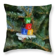 Xmas Noel Ornament Photo Art 01 Throw Pillow