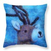Xmas Reindeer 01 Photo Art Throw Pillow