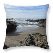 Yachats On The Rocks Throw Pillow