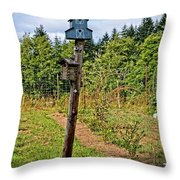 Yachats  Oregon - Blue Birdhouse Throw Pillow