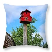 Yachats Red Birdhouse Throw Pillow