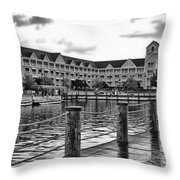 Yacht And Beach Club After The Rain In Black And White Walt Disney World Throw Pillow