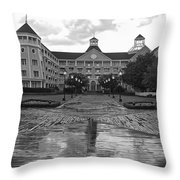 Yacht And Beach Club In Black And White Walt Disney World Throw Pillow