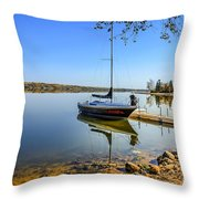 Yacht At The Little Manitou Lake Throw Pillow