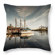 Yacht At The Pier On A Sunny Day Throw Pillow