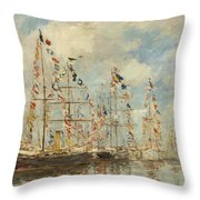 Yacht Basin At Trouville Deauville Throw Pillow