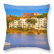 Yacht On The Water Throw Pillow
