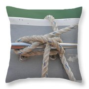 Yacht Secured To A Jetty  Throw Pillow