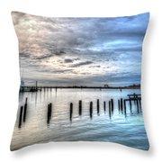 Yacht Storming Morning Throw Pillow